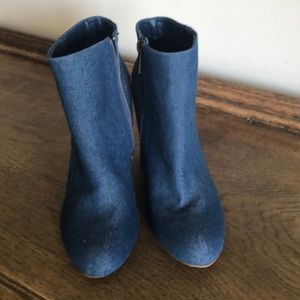 NWOT denim booties 4 inch wooden Heel